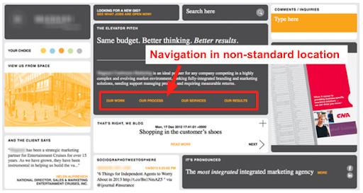 Poor design of a website