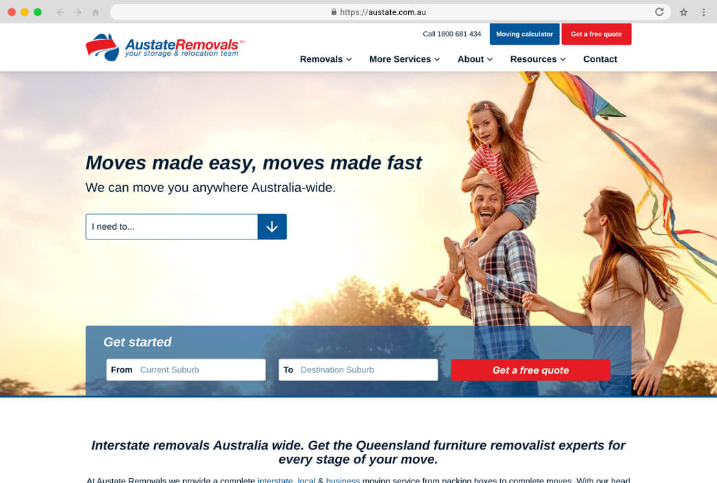 Austate Removals website